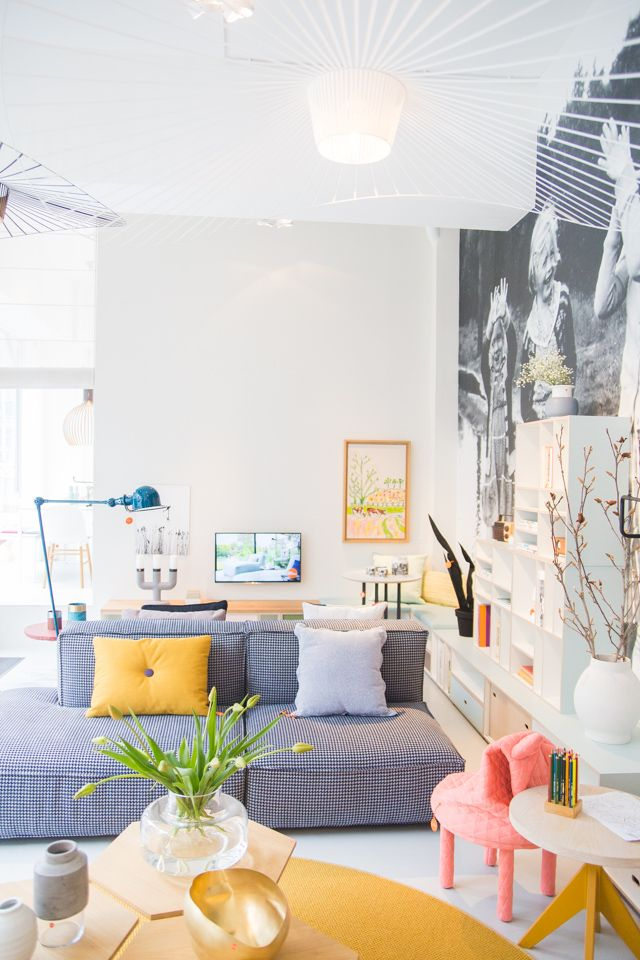 We love colour pop homes. Make like this Netherlands based design studio - Depot Rotterdam and add modern lamps and bright cushions.