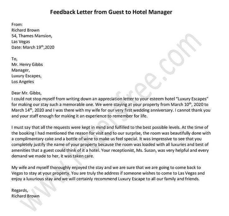Hotel Management Appreciation Letter