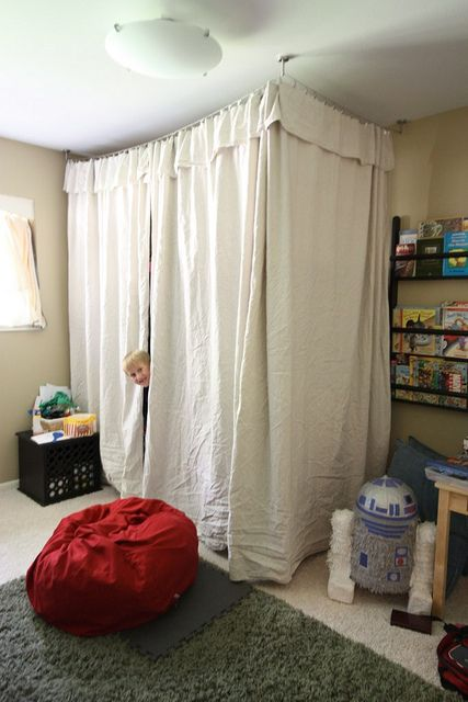 easy fort around a bunk bed with ikea wire curtain rods and home depot drop cloths