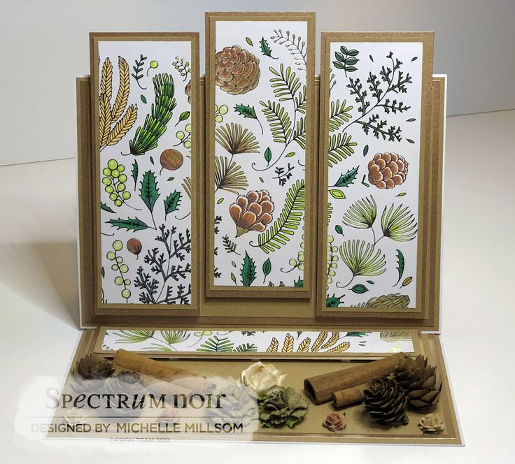 A5 Easel Card. Designed by Michelle Millsom. Colourista A4 Foiled Pad - Natural Beauty. Colourista Pencils - All Packs.