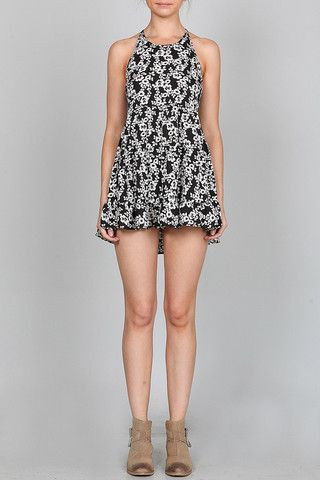 FLORAL PRINT RUFFLE MINI DRESS WITH HALTER NECK