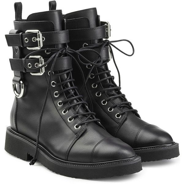 Giuseppe Zanotti Leather Combat Boots (£960) ❤ liked on Polyvore featuring shoes, boots, ankle booties, black, black leather booties, black booties, leather booties, chunky black booties and lace up booties