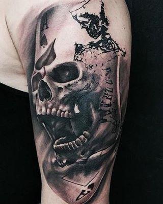 #Tattoo by @traptattoo (Ivan Trapiani) - Skull, Skeleton, and Cards Tattoo Trap Tattoo Art  Travel Dates: 03/14/17 to 03/15/17 - Ivan Trapiani @ Off the Map Tattoo Italy Off the Map Tattoo Italy Cervignano del Friuli, Ud  Keywords #BlackandGrayTattoos #BlackworkTattoos #FantasyTattoos #SkullTattoos #BodyPartArmTattoos #CustomTattoos #GamblingTattoos #IllustrationsTattoos #OriginalArtTattoos  Feed powered by @TattooNOW_dot_com