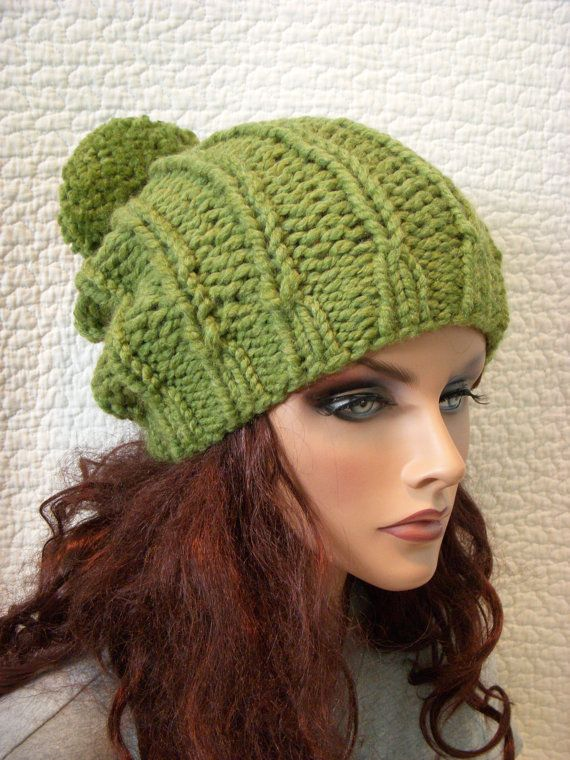 Green Apple Chunky Knit Hat with Pompom, $33.00