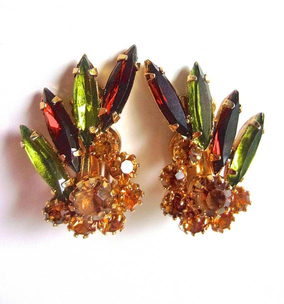 JULIANA Green Topaz Orange Rhinestone Earrings Navettes