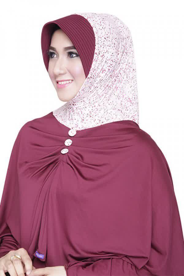 Mezora Bergo Hafsya Polka Marun Rp 67 000 Bahan Spandek Variasi Bergo Langsung Pakai Dengan Pet Dihiasi Motif Polkadot Serta G Pakaian Kerudung Hijab