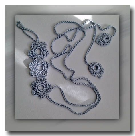 Flower wrap bracelet silver gray I. by FiBreRomance on Etsy, $14.00