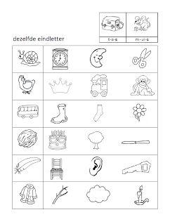 Werkblad taal - Welk plaatje heeft dezelfde eindletter als het eerste plaatje?