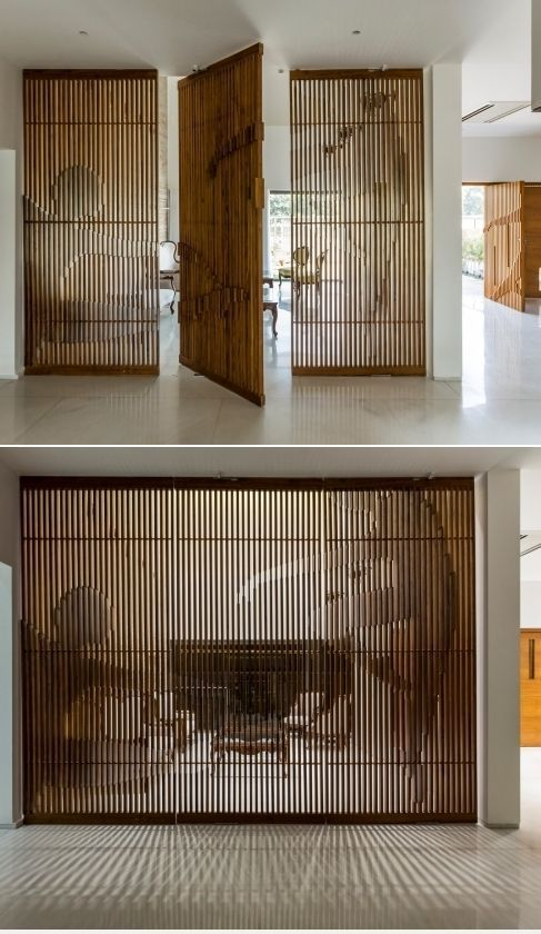 Raumteiler-Design, Haus um einen Innenhof. Geladene Voids