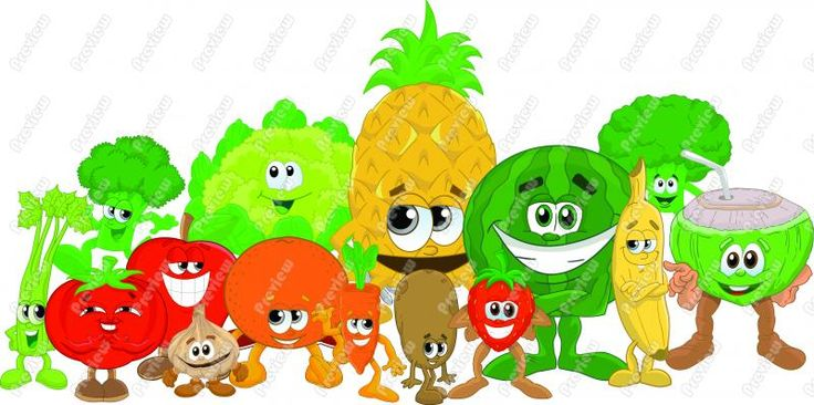 Healthy Food Clip Art | Anthropomorphic fruit and ...