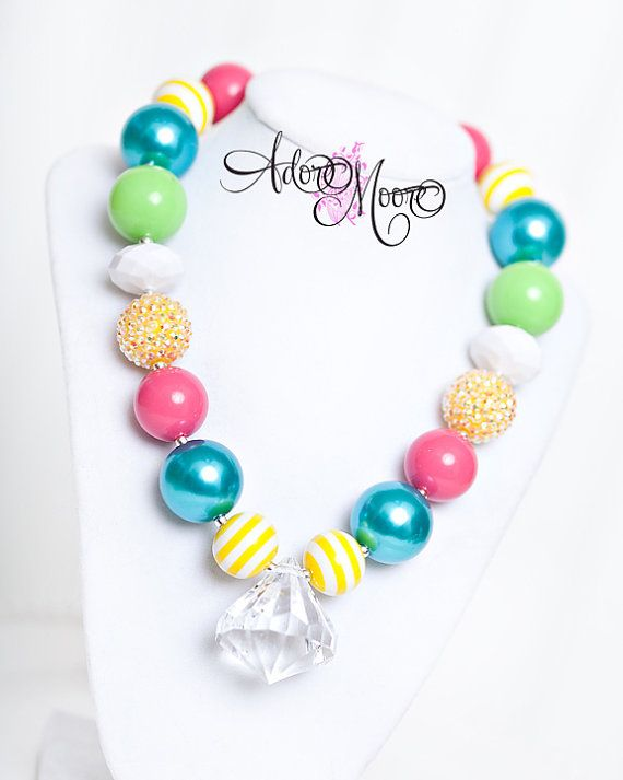 Summer Jewl, Kids Necklace, Chunky Necklace, Chunky Bead Necklace, Child Girls Necklace via Etsy