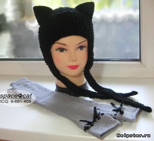Кошачья шапка с ушками вязать спицами