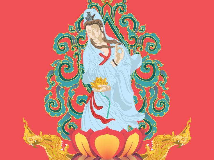 Kwan Yin Goddess Illustration by Luis Faus
