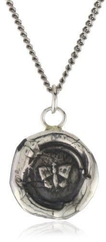 """Pyrrha """"talisman"""" Sterling Silver Butterfly Necklace Pyrrha. $140.00. Every Pyrrha design has a symbolic meaning culled from family heraldry Made in Canada. Made in Canada. 18"""" chain. Pendant is cast from a 19th century wax seal. To clean rub with a dry, flannel cloth"""