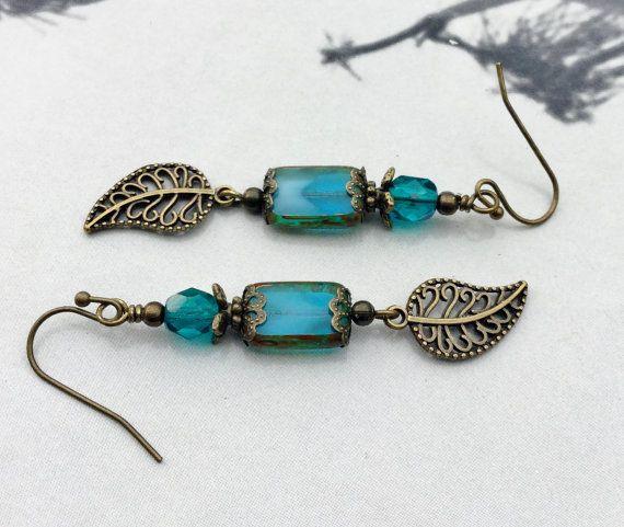 Blue Earrings Aqua Earrings Antique Gold Earrings by SmockandStone