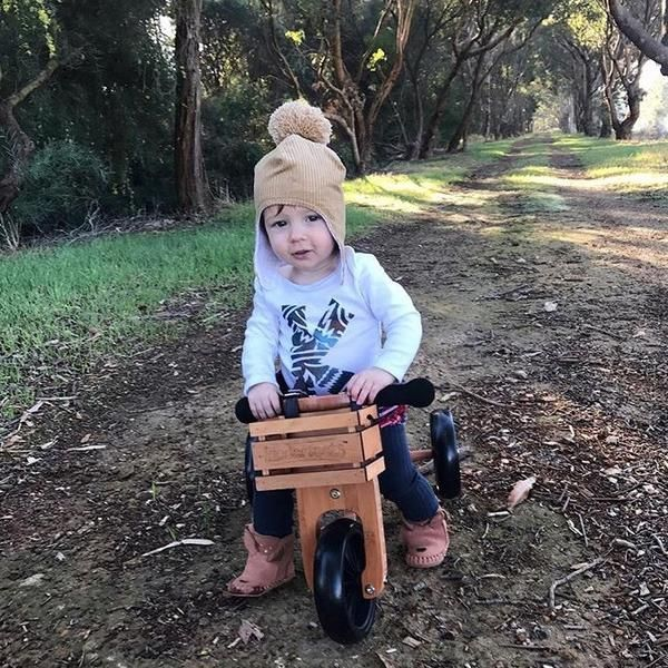Possibly the most beautiful 2-in-1 balance bike and trike you've ever seen. Manufactured from lacquered bamboo wood.  Kinderfeets Tiny Tots Trikes is the smalle
