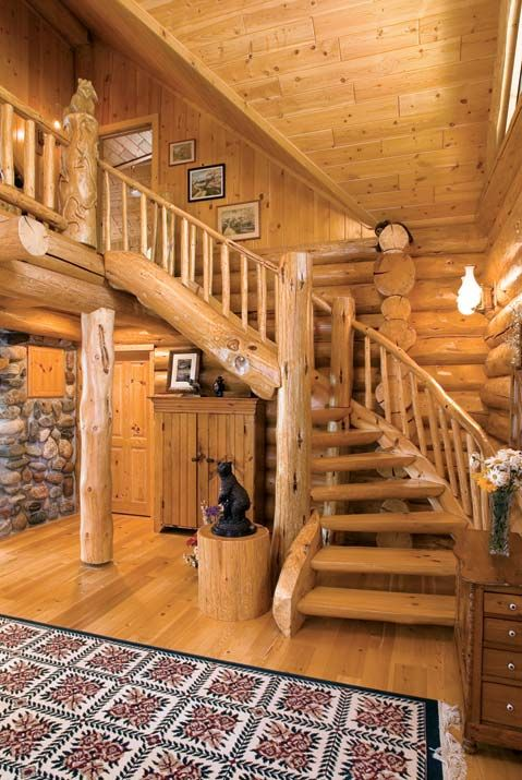 Log home staircase: Modern Home Design, House Design, Living Rooms Design, Home Interiors Design, Dreams House, Logs Home Interiors, Logs Cabins, Modern Interiors, Design Home