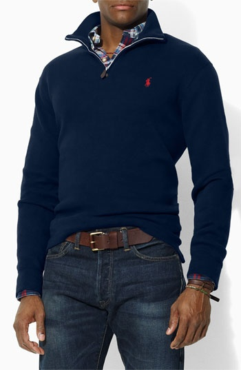 Men's polo pullover. Ladies can wear em' with leggings and boots