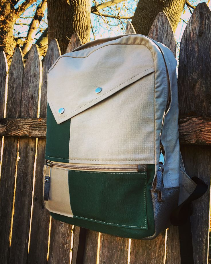 Backpack  #sewing #backpack #leatherbag #canvas #diy #pattern #green #grey