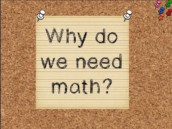 Why Do We Need Math? Introduction to Math Powerpoint--this is a visual powerpoint to be projected.  It can be used to initiate a discussion about why math is so important to our lives.