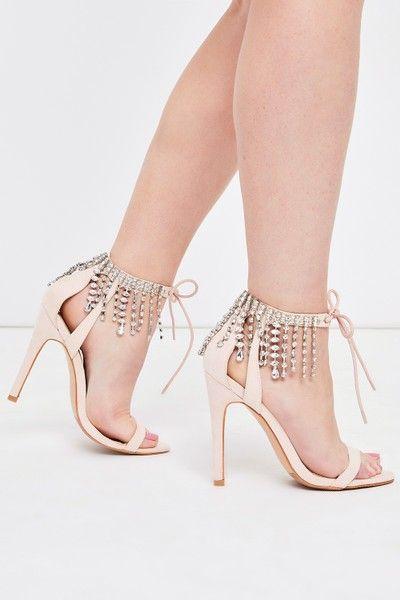 Gloria Nude Diamante Tassel Barely There High Heels