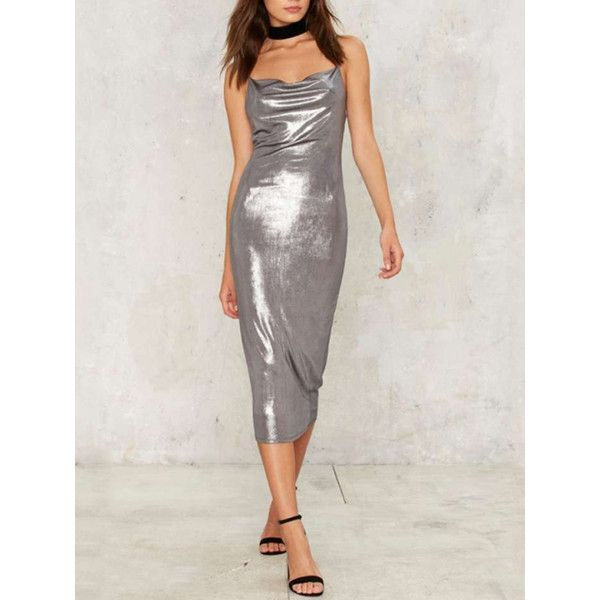 Silver Metallic Ruched Plunge Cami Bodycon Midi Dress ($32) ❤ liked on Polyvore featuring dresses, stretch dresses, plunge dress, body con dresses, bodycon midi dress and bodycon dress