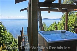 West coast style cedar gazebo with hot tub and with panoramic ocean views #Sechelt #SunshineCoast #BritishColumbia #Canada