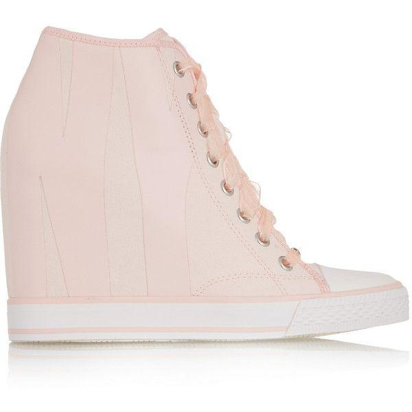 DKNY Grommet appliquéd canvas wedge sneakers ($105) ❤ liked on Polyvore featuring shoes, sneakers, pastel pink, hidden wedge heel sneakers, lace up wedge sneakers, wedge sneakers, canvas sneakers and dkny sneakers