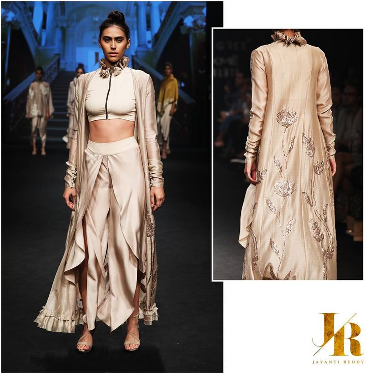 LOOK 5-  An Ivory embroidered jacket with a ruffle collared crop top and tulip pants! JAYANTI REDDY Summer/Resort 2017 Contact us on +917330687770 for enquiries and orders!  JayantiReddyLabel  JayantiReddy  LakmeFashionWeek  SS17  ASummerInStyle  21 February 2017