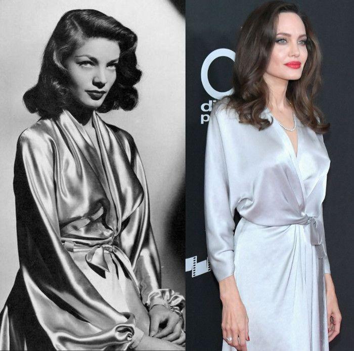 """Lauren Bacall #Versus Angelina Jolie  Angelina Jolie (derecha) en la 21 edición de los """"Hollywood Film Awards"""" con un vestido de seda plateado y cinturón de terciopelo, de la firma británica Jenny Packham. Un diseño que evoca al creado por Leah Rhodes para Lauren Bacall (izquierda) en la película """"El sueño eterno"""" (The Big Sleep.1946) ⭐"""