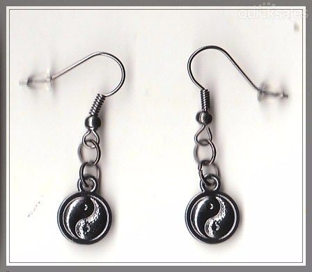Ying/Yang Charm Gunmetal Grey Earrings  by MadAboutIncense - $8.50