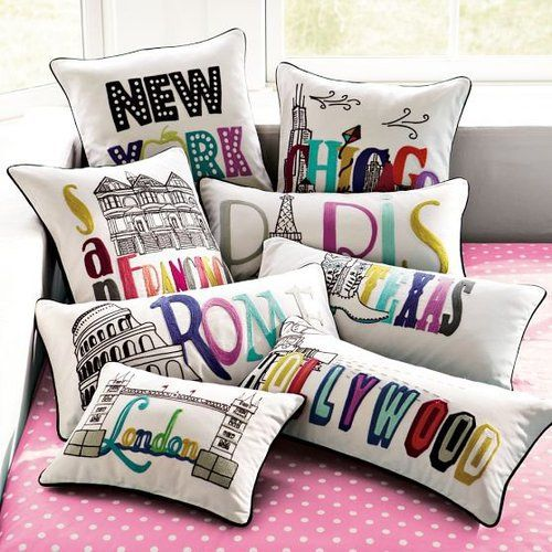Destination Pillow Cover. Cute for travel themed room