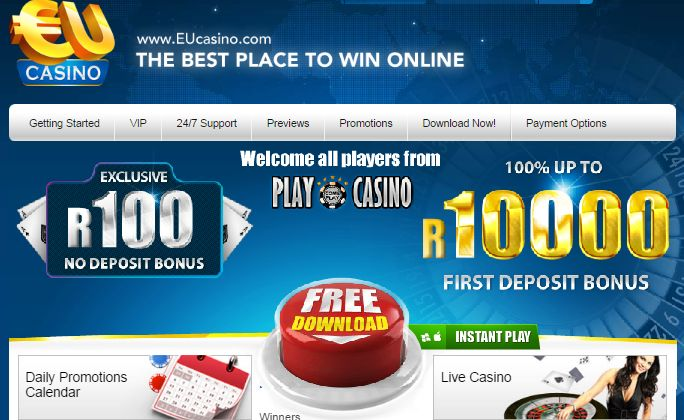 #EUOnlineCasino   #OnlineCasinoRealMoney R100 No Deposit  Looking for a honest #SouthAfricanonlinecasino to play for real money? Join EU online Casino & claim a R100 Free No Deposit Bonus. Play and win real money today!  http://onlinecasinobonus.co.za/eu-online-casino-review.html