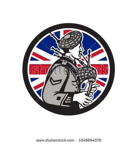Icon retro style illustration of a British bagpiper playing the Scottish Great Highland bagpipes with United Kingdom UK, Great Britain Union Jack flag set inside circle on isolated background.  #bagpiper #retro #illustration