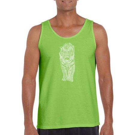 Los Angeles Pop Art Big Men's Tank Top - Tiger, Size: 3XL, Green