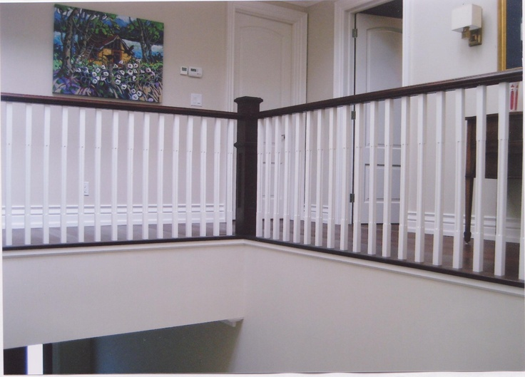 Painted Oak Pickets With Dark Stain Handrail Stair Cases