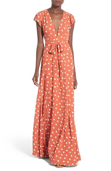 Free shipping and returns on Tularosa 'Sid' Polka Dot Wrap Maxi Dress at Nordstrom.com. A plunging V-neckline makes a sultry start atop a maxi-length wrap dress styled with cap sleeves and a profusion of bold white polka dots.