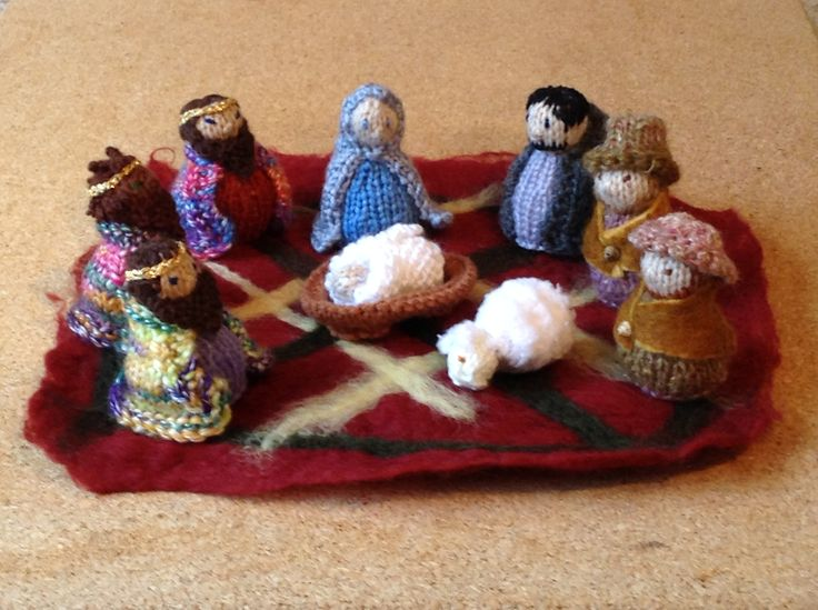 Knitted Mini-Nativity scene, all ready for Advent in Auckland