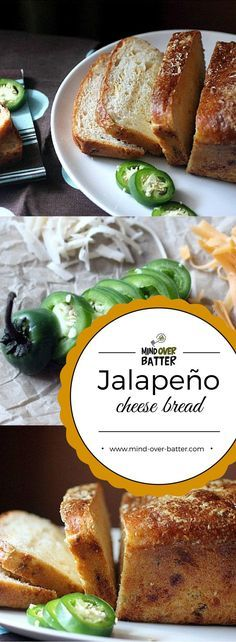 Your new favorite bread! This Jalapeño Cheese Bread is studded with chopped jalapeños and cheddar cheese! http://www.mind-over-batter.com