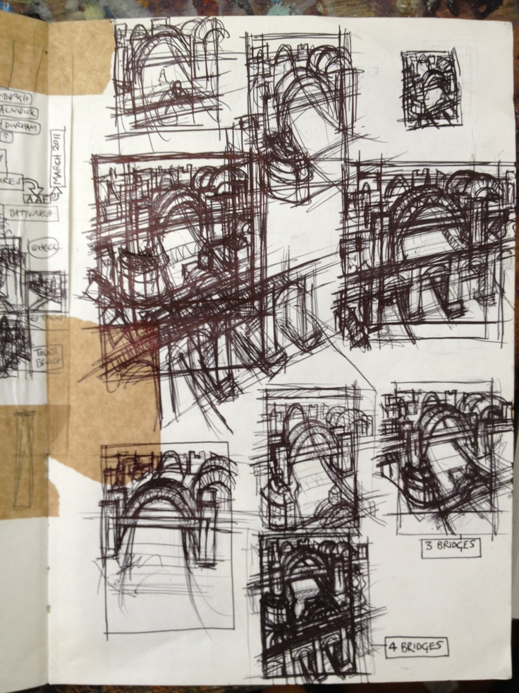 Rough Sketches (biro)  Newcastle commission  - Jim Edwards