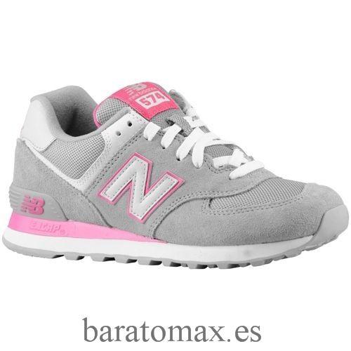mujer new balance 574 suede & mesh zapatillas burdeos gris