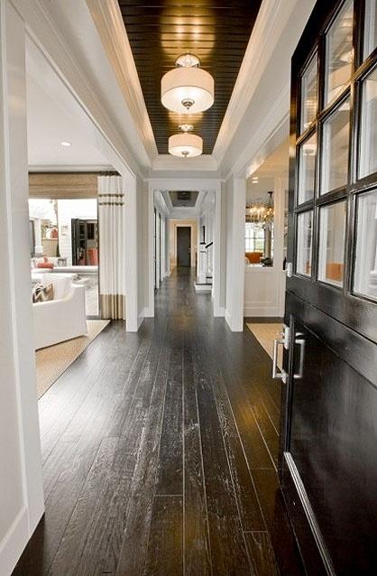 dark floors and ceilingLights Fixtures, Hallways, Black Doors, Ceilings Details, Dark Wood Floors, White Trim, House, Painting Ceilings, White Wall