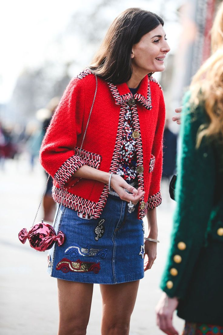 """What The Street Style Stars Wore To Chanel's #FrontRowOnly Show #refinery29  http://www.refinery29.com/2016/03/105548/chanel-street-style-paris-fall-winter-2016#slide-42  Wear your """"grandma jacket"""" with a younger-feeling mini...."""