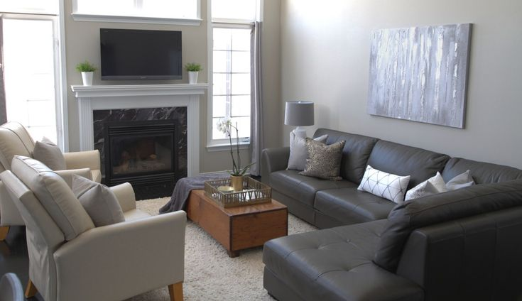 Family Room Revere Pewter grey and white toss pillows grey sectional