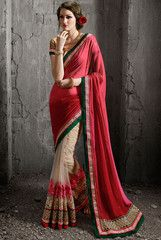 Divine Beige and Shaded Red Saree - https://www.ethanica.com/products/divine-beige-and-shaded-red-saree