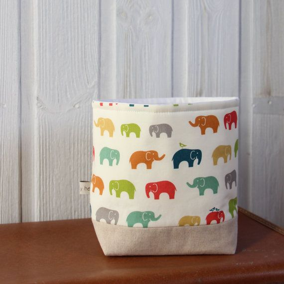 Nursery Storage Basket Organic Elephants by acraftyhen on Etsy, $26.00