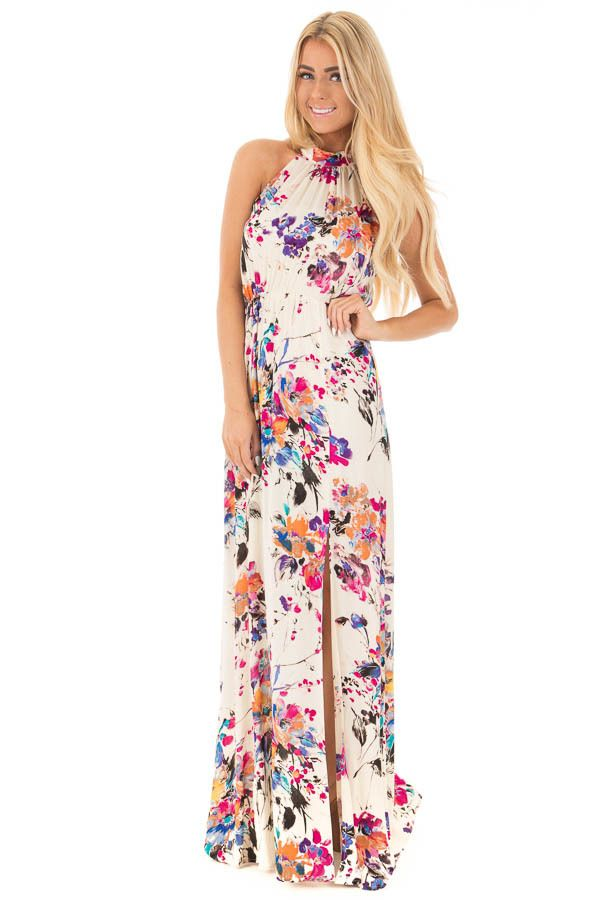 Lime Lush Boutique - Natural Floral Halter Maxi Dress with Tie Back Detail, $46.99 (https://www.limelush.com/natural-floral-halter-maxi-dress-with-tie-back-detail/)
