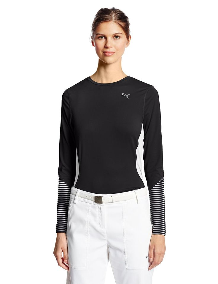 Made from 92% polyester and 8% spandex this womens NA novelty long sleeve golf polo top by Puma provides UV protection UPF 40+