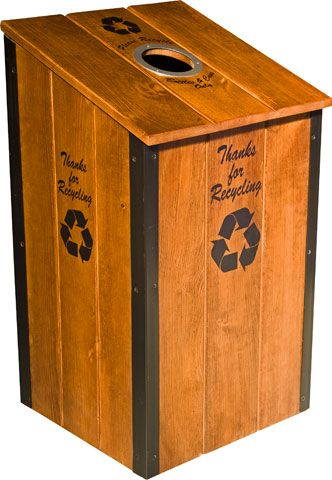 wood trash cans | Natural Wood Recycling Bin, Wooden ...
