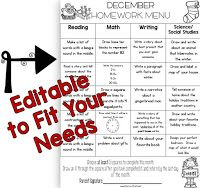 Fun in First Grade: EDITABLE Homework Menus for the ENTIRE Year